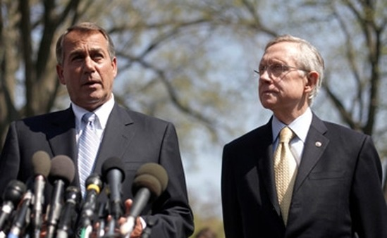 Rep. John Boehner (left) speaking outside the White House earlier this year as Sen. Harry Reid listens. (Photo: AP)