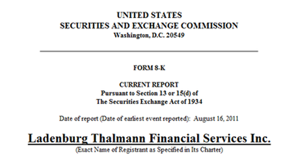 Cover page of Ladenburg's 8-K filing with the SEC.