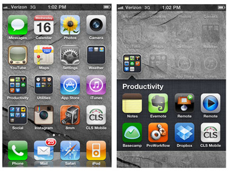 Home screens of an iPhone (left) and Android phone.