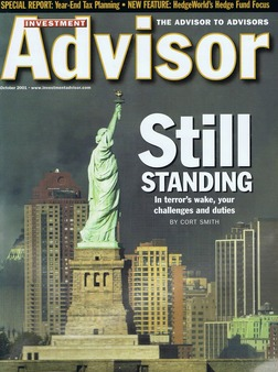 The October 2001 cover of Investment Advisor magazine.