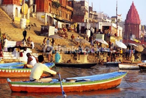 The age-old mode of transportation on the Ganges River.
