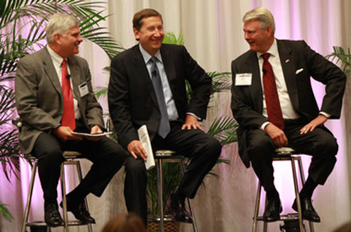 At the Women's Symposium this week, (from left) Raymond James & Associates President Dennis Zank; Raymond James Financial COO Chet Helck; and Dick Averitt, CEO of RJFS.