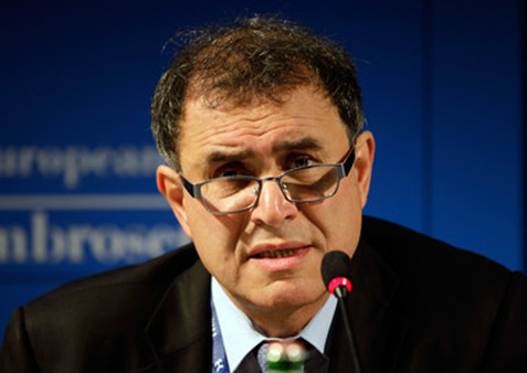 Nouriel Roubini speaking this month in Italy. (Photo: AP)