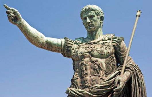 Bronze statue in Rome of Augustus Caesar, who greatly expanded the Roman Empire.
