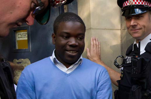 UBS trader Kweku Adoboli being arrested last month in London. (Photo: AP)