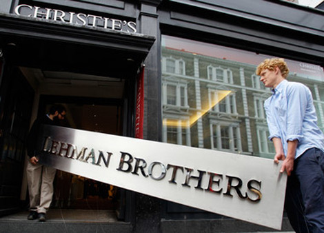 Lehman Brothers sign being taken into Christies for auction in London in 2010. (Photo: AP)