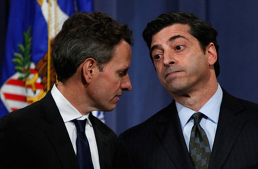 Robert Khuzami (right), seen here with Tim Geithner, will appear at the Senate hearing Nov. 16. (Photo: AP)