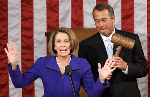 Rep. Nancy Pelosi, handing over the Speaker's gavel to Rep. John Boehner in January, was in a report on