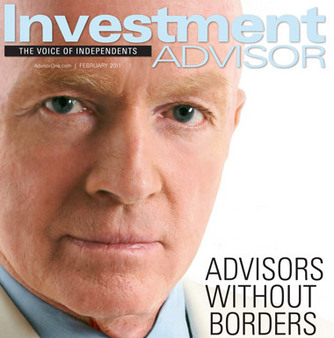 Mark Mobius on cover of February's Investment Advisor.