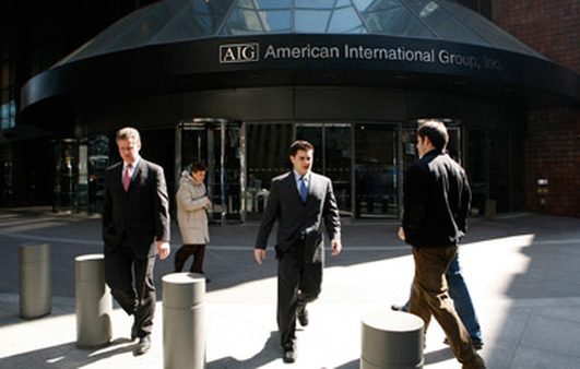 People outside AIG building in New York. (Photo: AP)