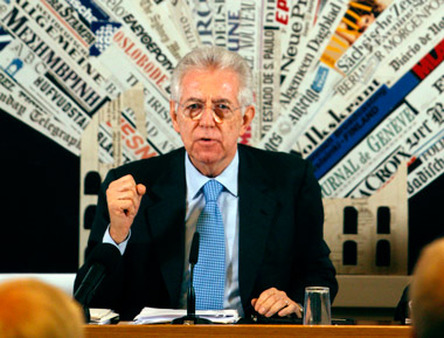 Mario Monti at a press conference in Rome. (Photo: AP)