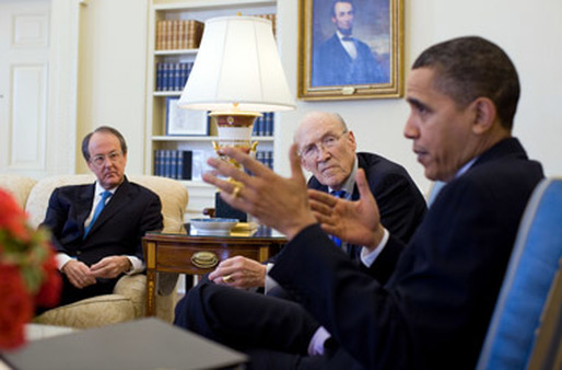 President Obama, right, with Erskine Bowles, far left, and Alan Simpson. One critic faults Obama for not taking up the economic policies the two proposed. (Photo: AP)