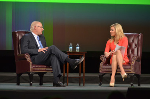CNBC news anchor Amanda Drury (right) interviewed TD Ameritrade CEO Fred Tomczyk at the Orlando conference.