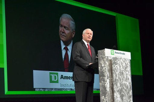 Robert Gates speaking at TD's Orlando conference on Thursday.