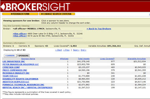 A screenshot of Judy Diamond Associates BrokerSight database.