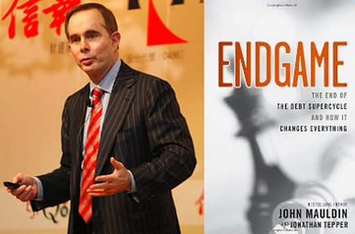 "John Mauldin and the cover of his recent book, ""Endgame."""