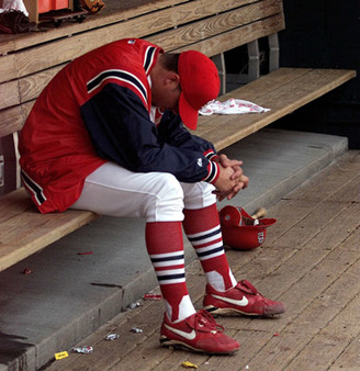 Rick Ankiel, a former St. Louis Cardinal phenom, after another exasperating performance in 2001. (Photo: AP)