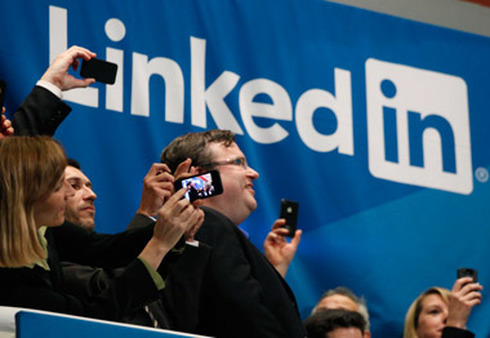 LinkedIn executives at its IPO in May. (Photo: AP)