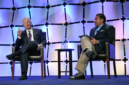 IMCA vice chairman John Nersesian (right) interviewed Richard Thaler at the IMCA conference.