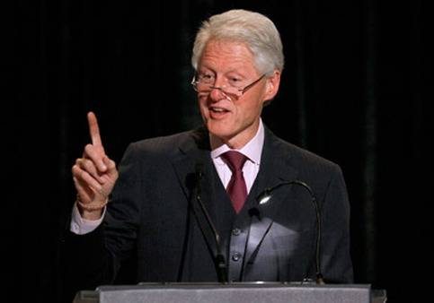 Bill Clinton, seen above speaking at an April event, spoke at the Milken Institute conference on Thursday. (Photo: AP)