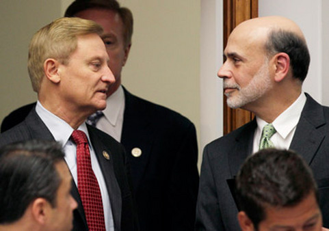 Rep. Spencer Bachus, R-Ala. (left), the sponsor of the SRO bill, with Fed chairman Ben Bernanke. (Photo: AP)