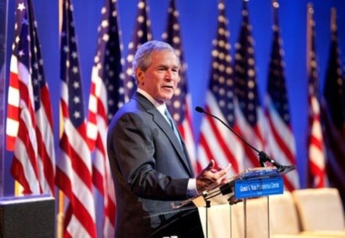 Former President George W. Bush speaking in New York in April.