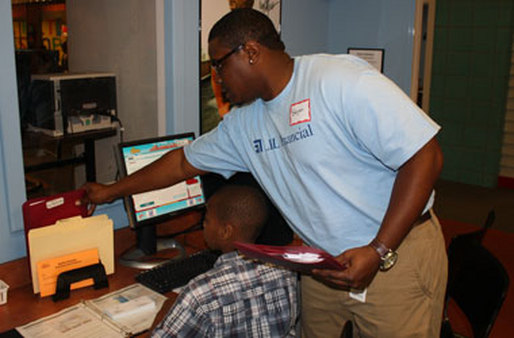 An LPL employee volunteers at Junior Achievement's BizTown in Charlotte.