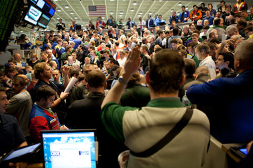 Money changes hands on the floor of the Chicago Board Options Exchange. (Photo courtesy of CBOE.)