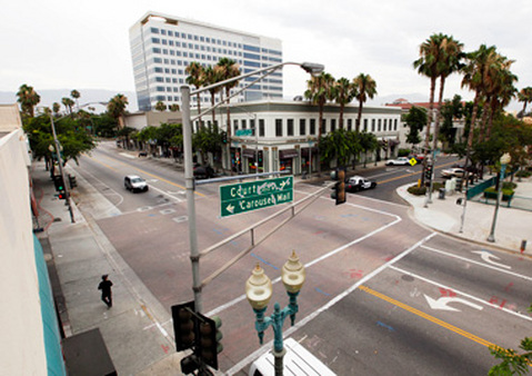 The near-empty downtown of San Bernardino, Calif. (Photo: AP)