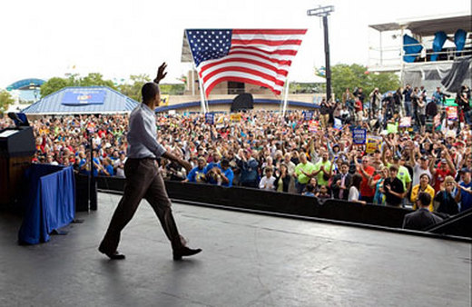 Barack Obama at a rally. (Photo: AP)