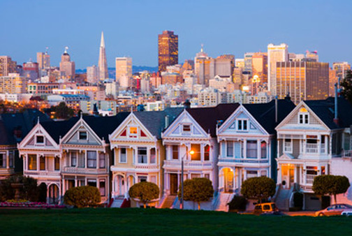 Alamo Square in San Francisco. California is the most indebted state, owing nearly $628 billion.