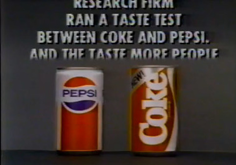 A still from a 1985 TV commercial for New Coke.