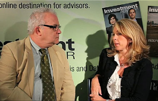 Schwab's Liz Ann Sonders speaking with Investment Advisor's James J. Green at Schwab Impact in 2011.
