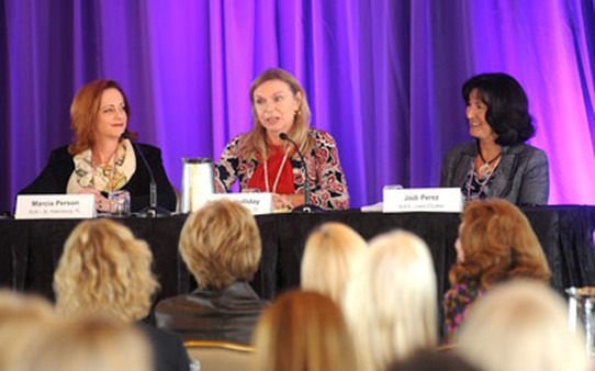 Raymond James advisors (from left) Marcia Person, Jeannie Holliday and Jodi Perez speaking at the conference.