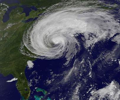 Severe storms like Hurricane Irene, seen in this satellite image are more common than in years past, a Munich Re report says. (Photo: AP)
