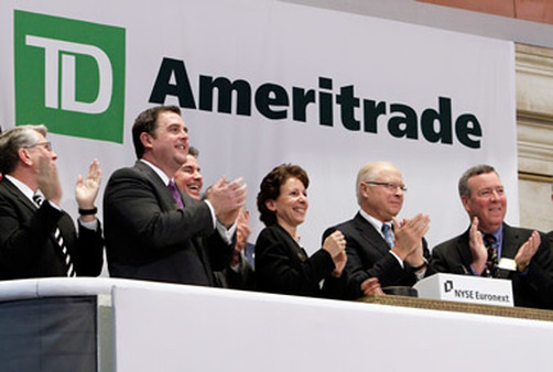 TD Ameritrade officials ring the opening bell at the New York Stock Exchange. (Photo: AP)