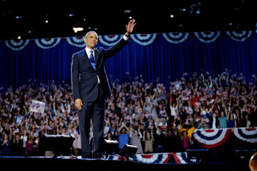 President Obama waving to crowd in Chicago early Wednesday after being re-elected. (Photo: AP)