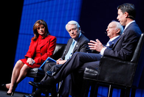 CNBC's Maria Bartiromo moderates a panel (from left) including Charles Schwab, George Roberts and Scott Nuttal of KKR. (Photo: Orange Photography)
