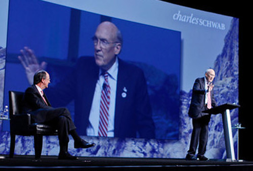 Erskine Bowles (left) listening to Alan Simpson at Schwab Impact 2012. (Photo: Orange Photography)