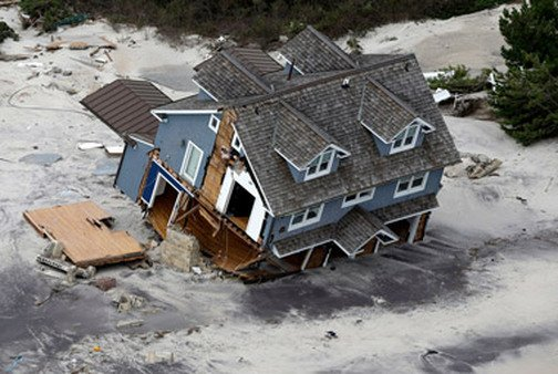 View of a collapsed house along the central Jersey Shore after Sandy. (Ph