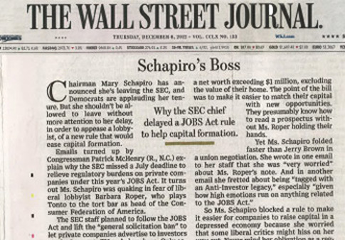 "Wall Street Journal editorial on Wednesday called CFA's Roper ""Schapiro's Boss."""