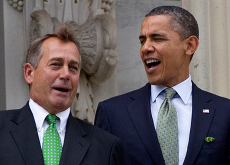House Speaker John Boehner (left) and President Obama chatting on the Capitol steps in March. (Photo: AP)