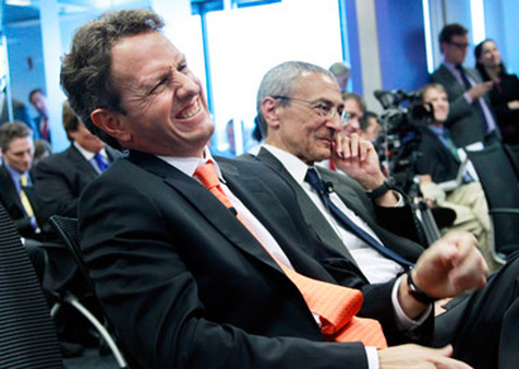 Treasury Secretary Timothy Geithner sharing a laugh. (Photo: AP)