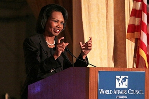 Condoleezza Rice speaking in 2009.