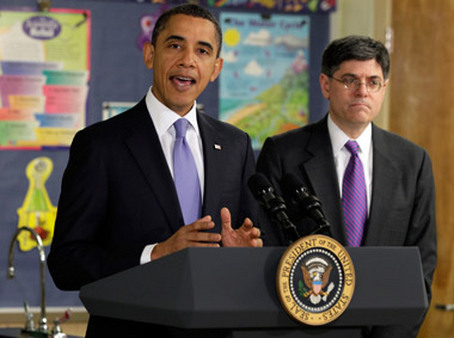 Jack Lew, right, with President
