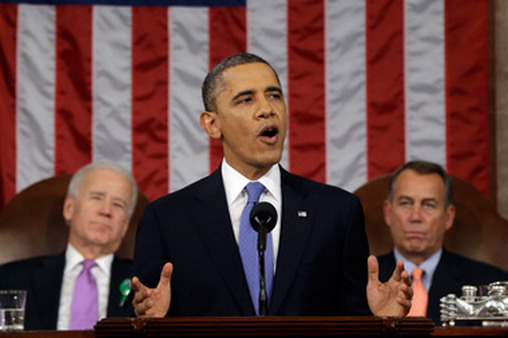 President Barack Obama gave the State of the Union address flanked by Vice President Joe Biden, left, and Hou