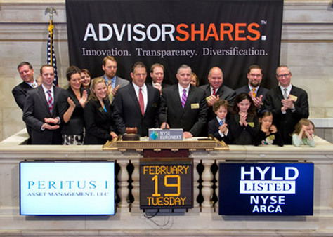 AdvisorShares and one of its subadvisors, Peritus, ring the bell at the New York Stock Exchange.