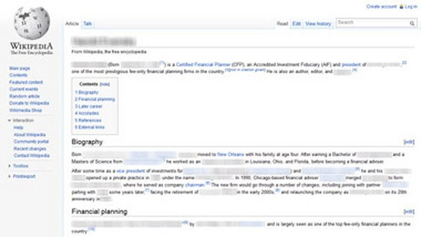Screen shot of a Wikipedia Web page.