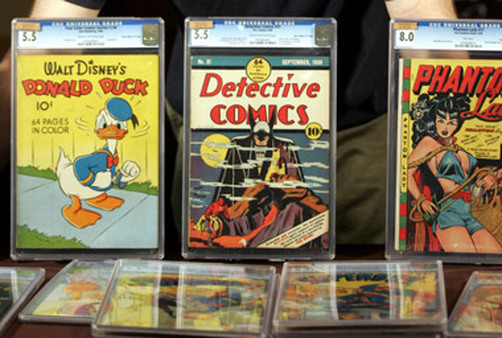 A collection of comic books  ready for auction. (Photo: AP)