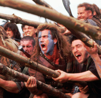 "You can take our taxes, but you'll never take our freedom! (Film still of Mel Gibson from ""Braveheart"" via AP)"